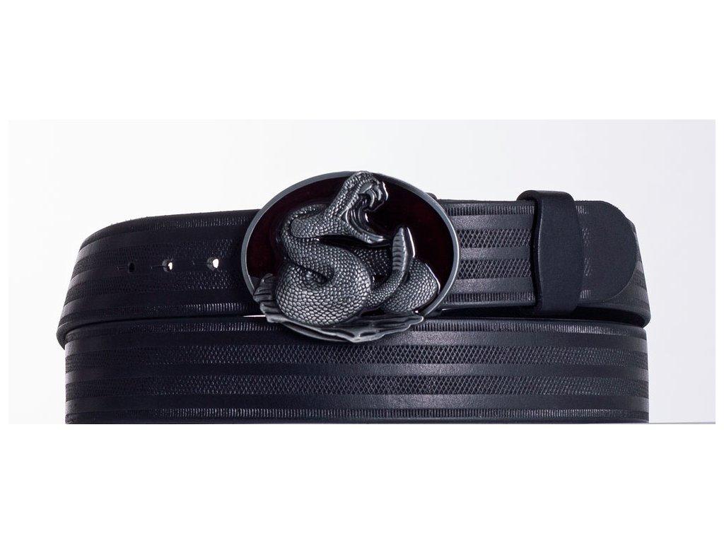Kožený pásek černý kobra pr