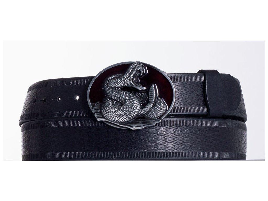 Kožený pásek černý kobra vr