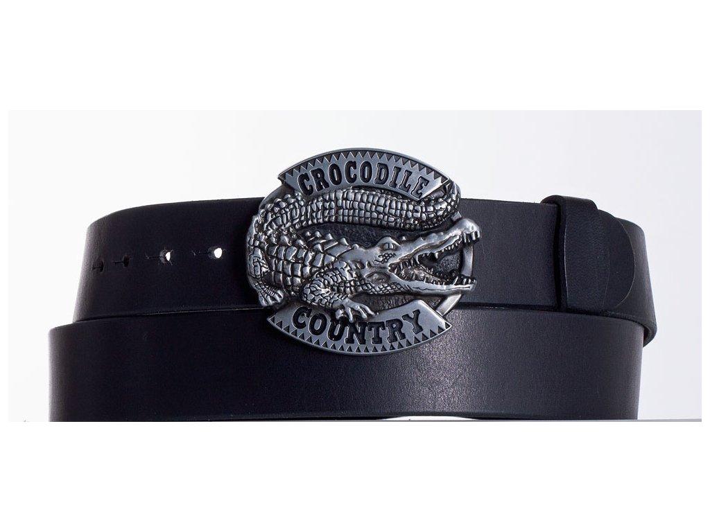 Kožený pásek černý krokodýl