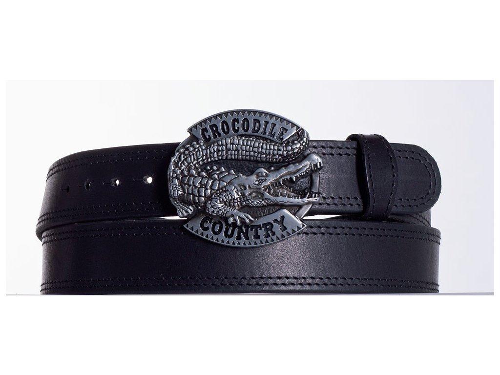 Kožený pásek černý krokodýl ob2č
