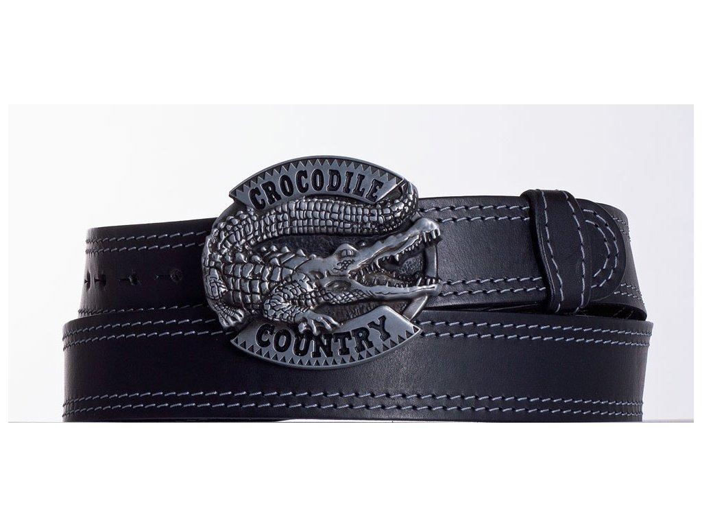 Kožený pásek černý krokodýl ob2š