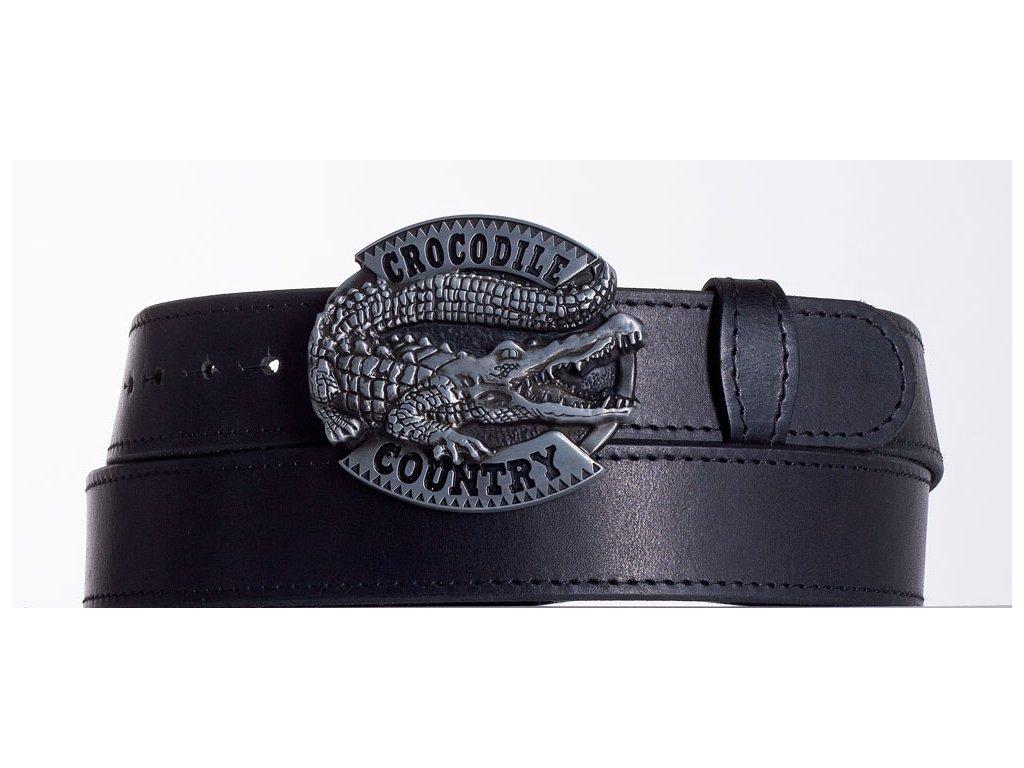 Kožený pásek černý krokodýl obč