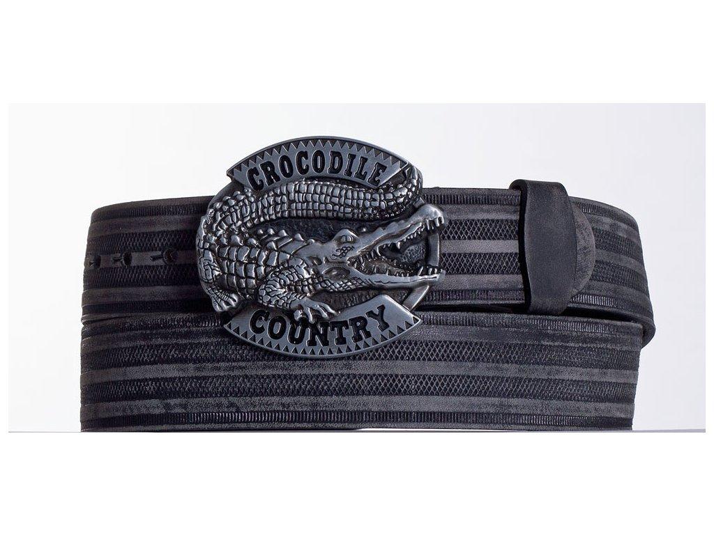 Kožený pásek černý krokodýl prb