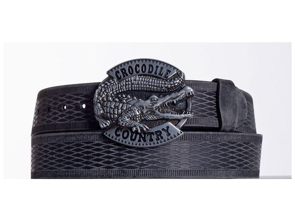 Kožený pásek černý krokodýl vrb