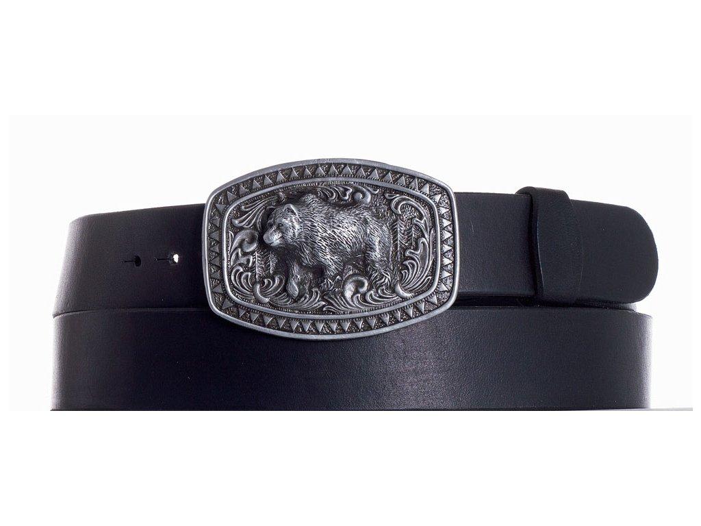 černý kožený pásek medvěd