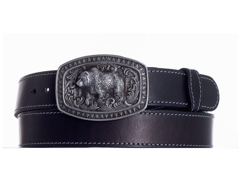 černý kožený pásek medvěd obš