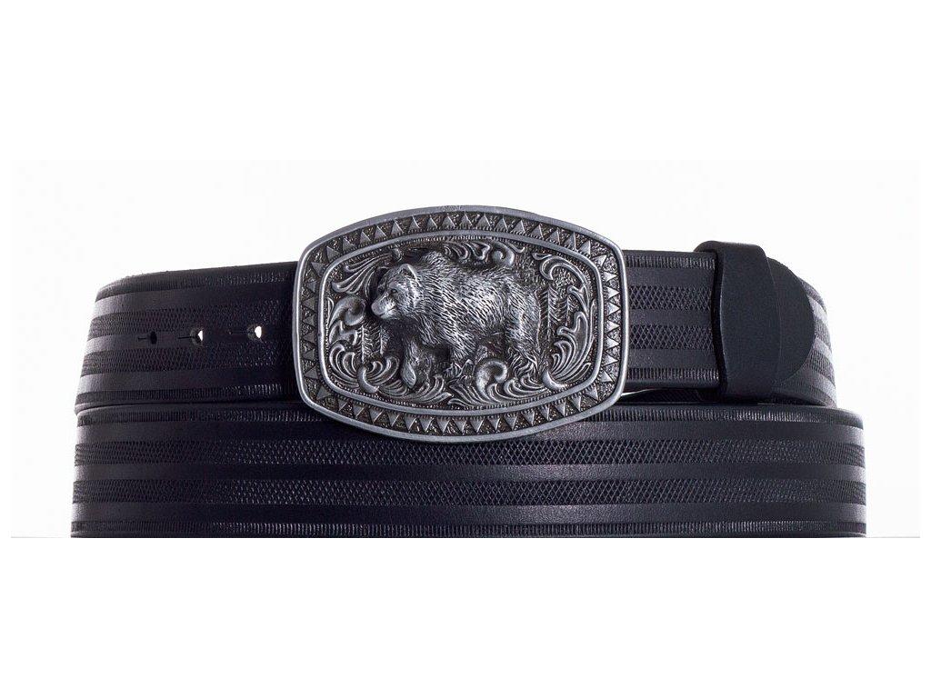 černý kožený pásek medvěd pr