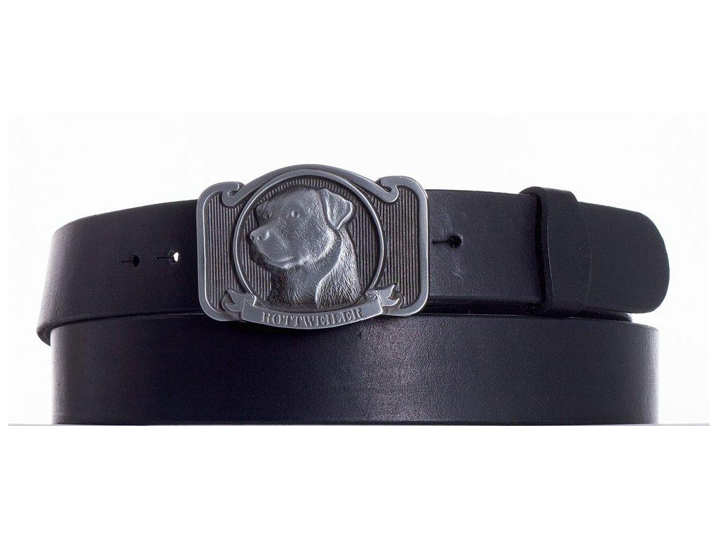 černý kožený pásek rotwajler