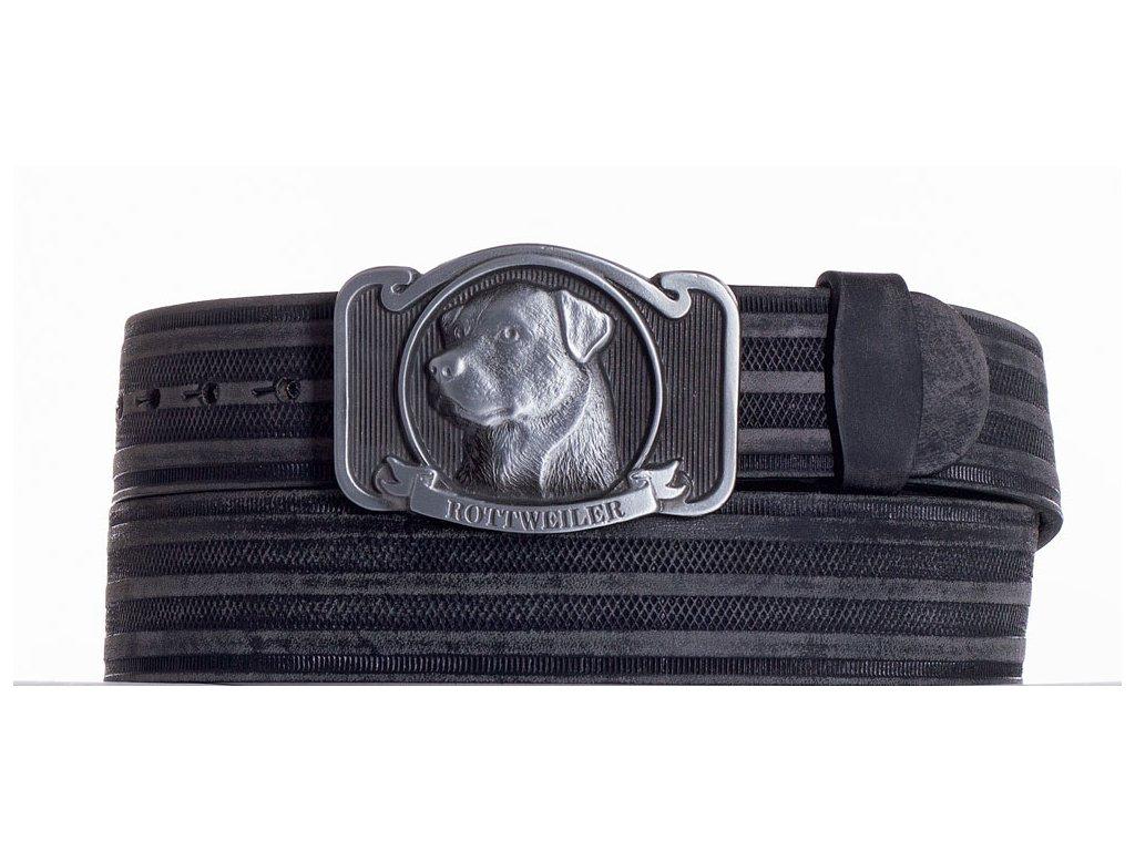černý kožený pásek rotwajler prb