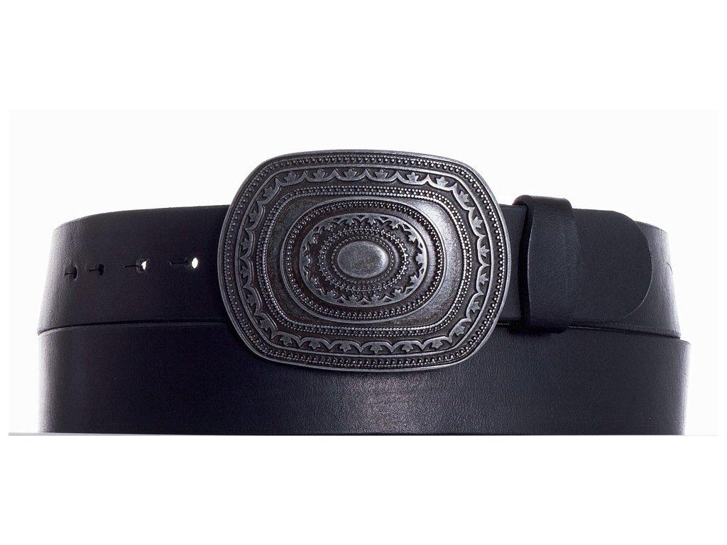 Černý kožený pásek aztec