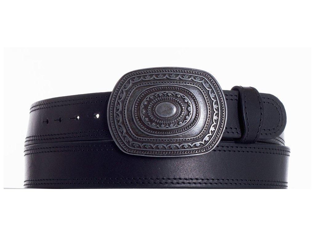 Černý kožený pásek aztec ob2č