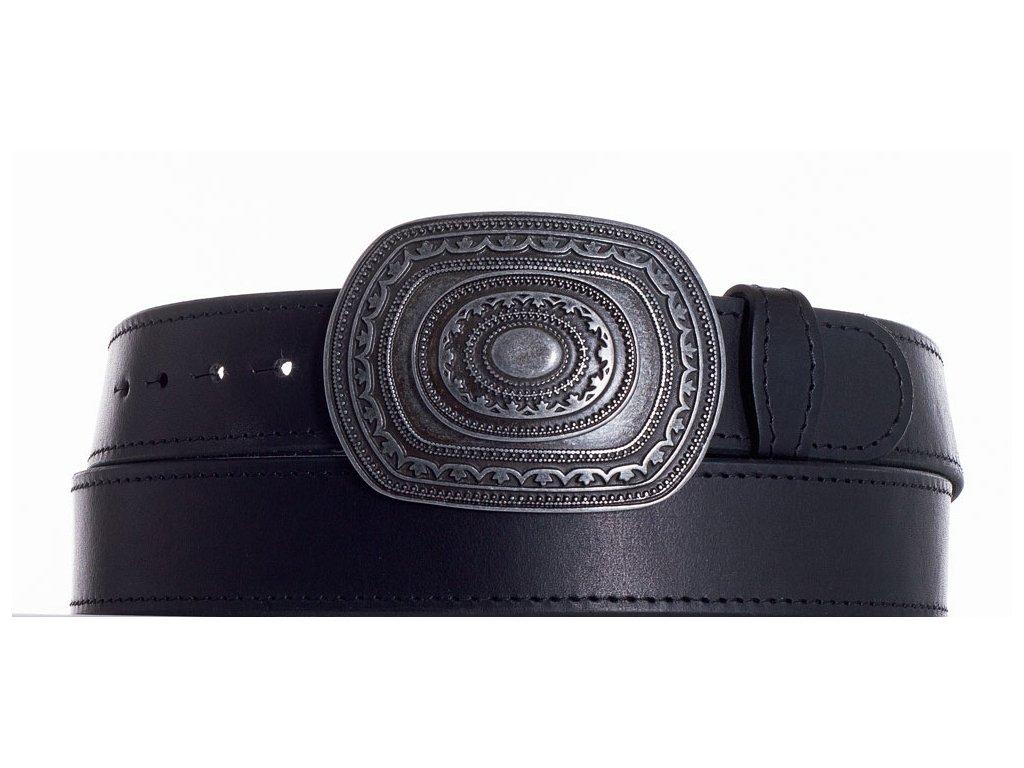 Černý kožený pásek aztec obč