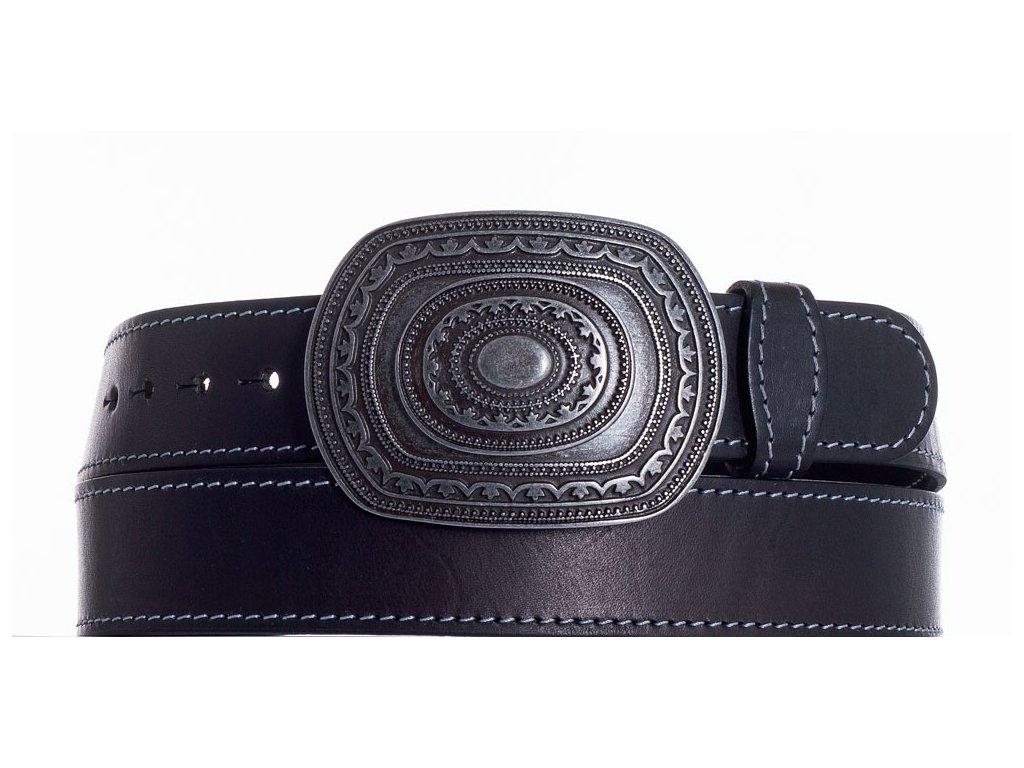 Černý kožený pásek aztec obš