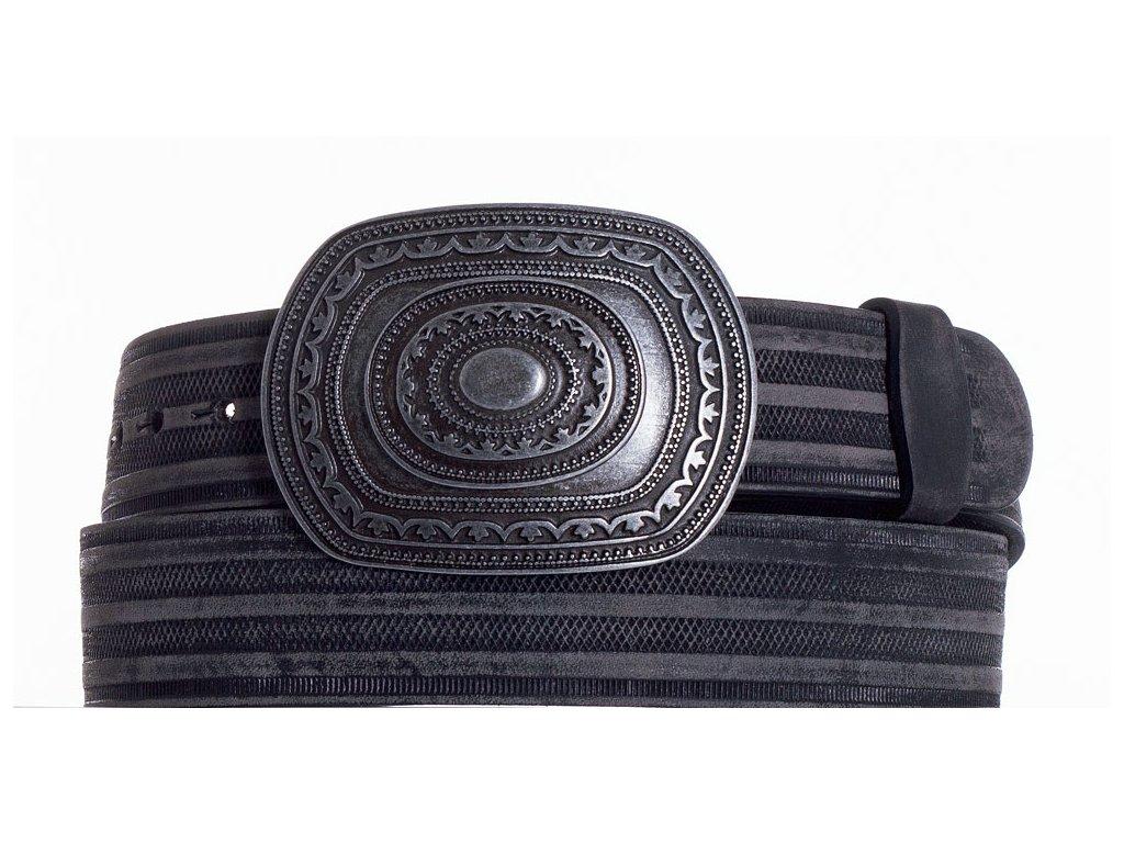 Černý kožený pásek aztec prb