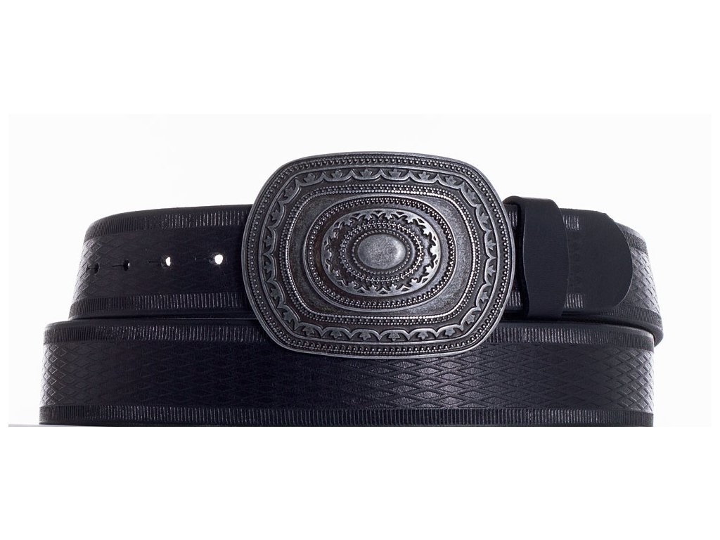 Černý kožený pásek aztec vr