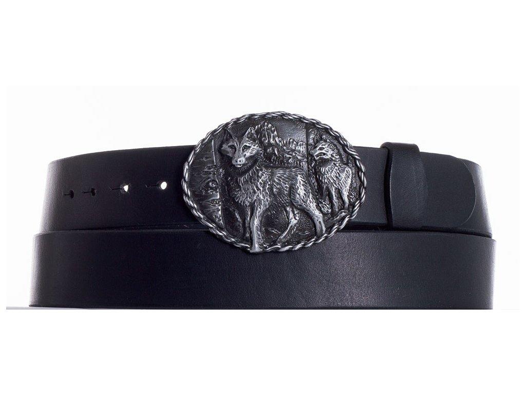 Černý kožený pásek vlci