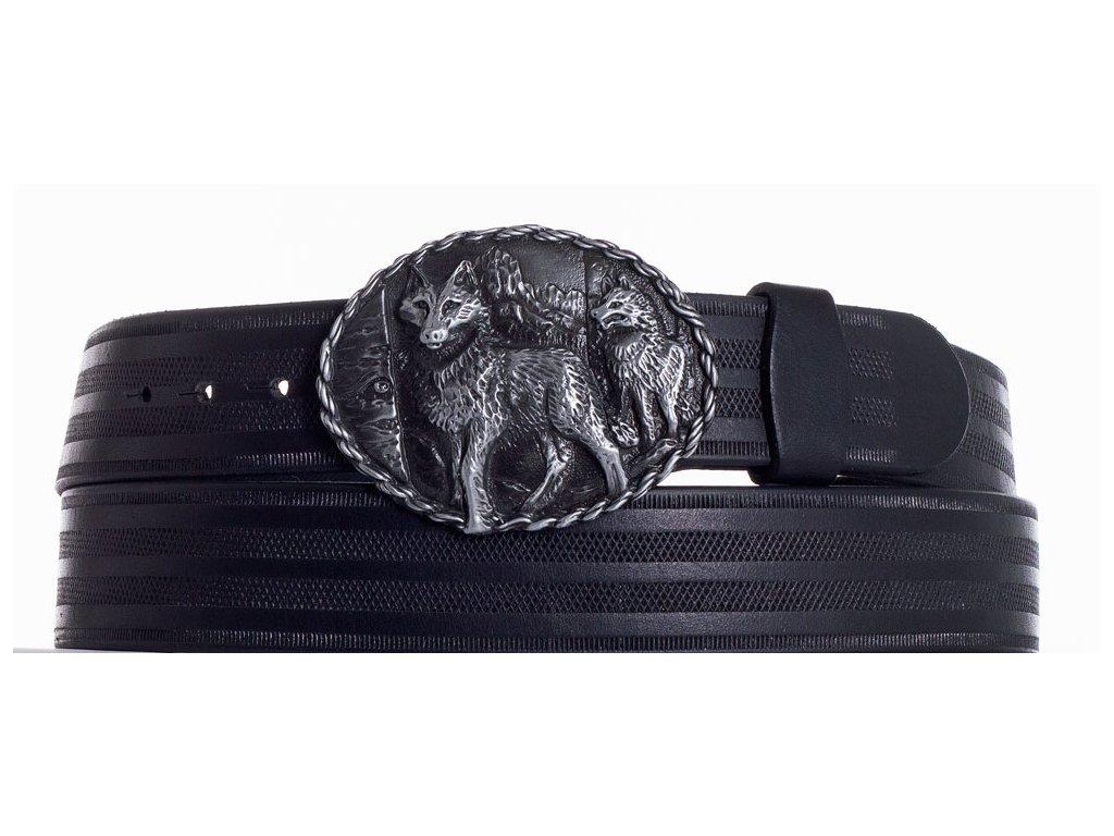 Černý kožený pásek vlci pr