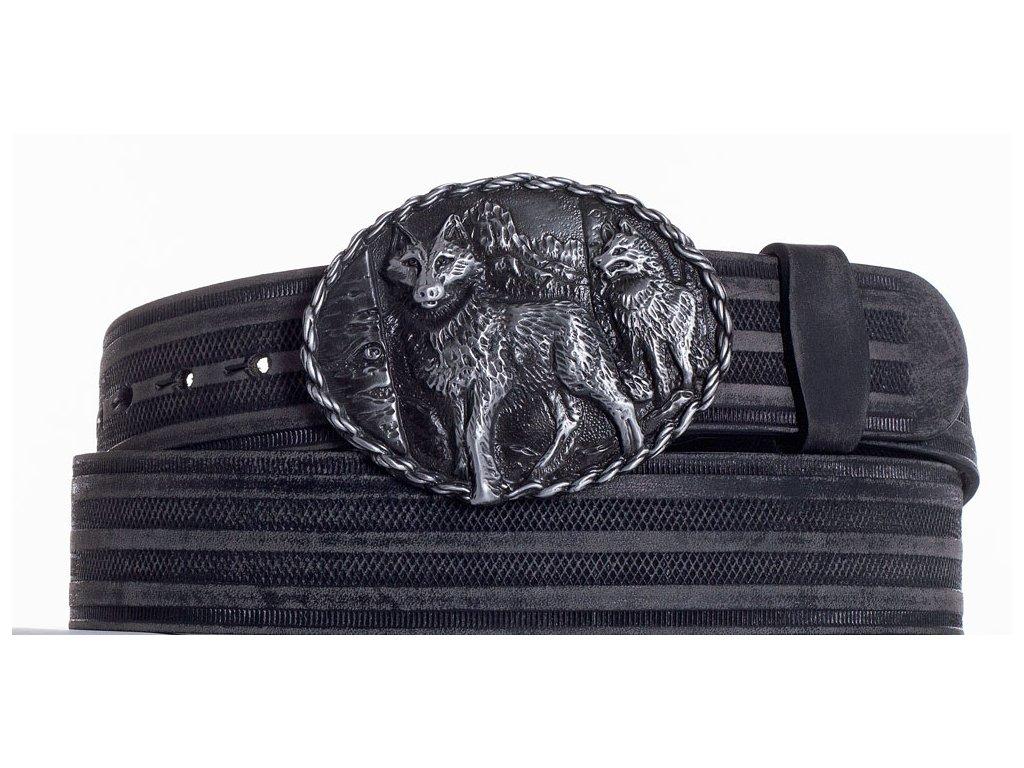 Černý kožený pásek vlci prb