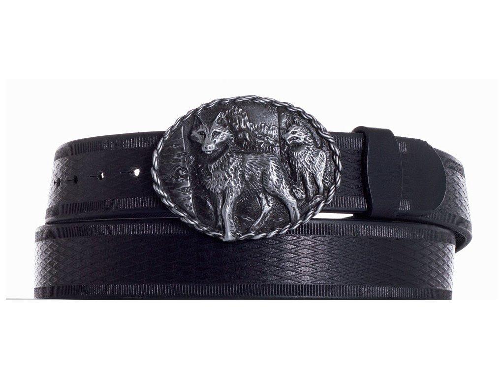 Černý kožený pásek vlci vr