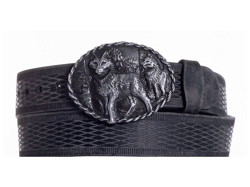Černý kožený pásek vlci vrb