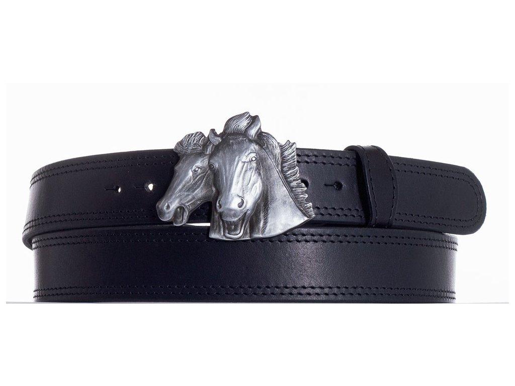 černý kožený pásek koně ob2č