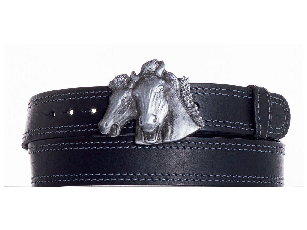 černý kožený pásek koně ob2š
