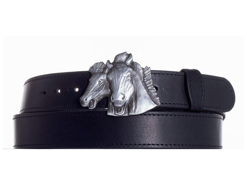 černý kožený pásek koně obč