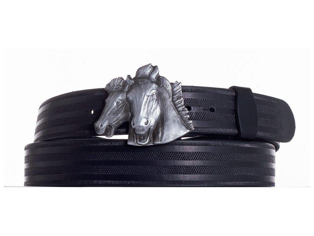 černý kožený pásek koně pr
