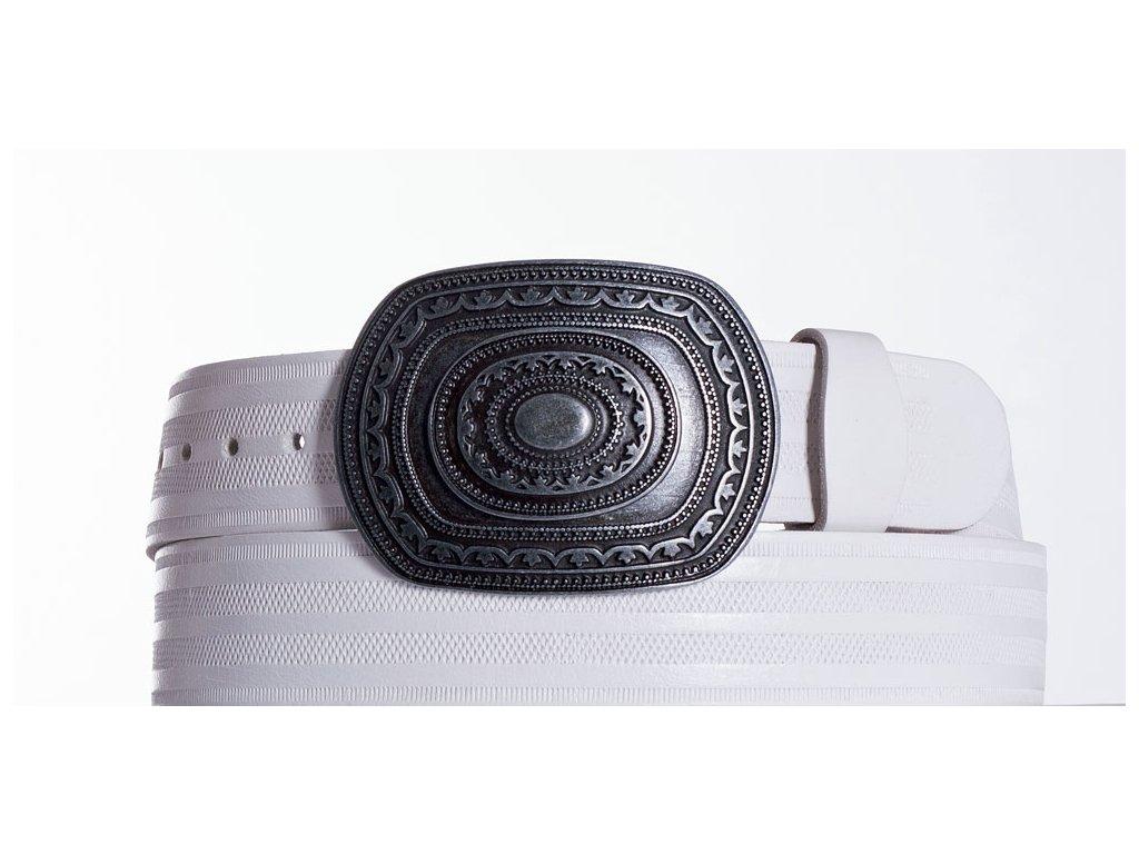 Bílý kožený opasek aztec pr