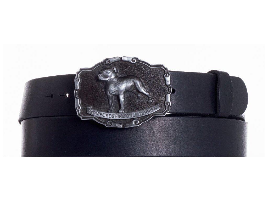 černý kožený pásek staf
