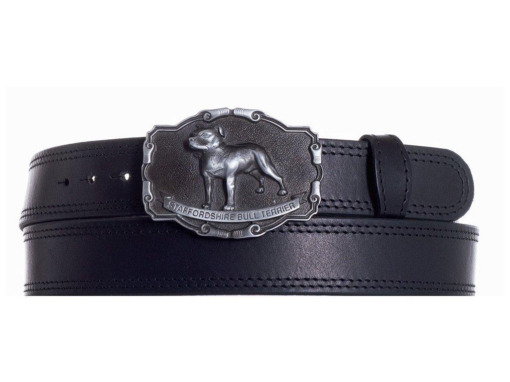 černý kožený pásek staf ob2č
