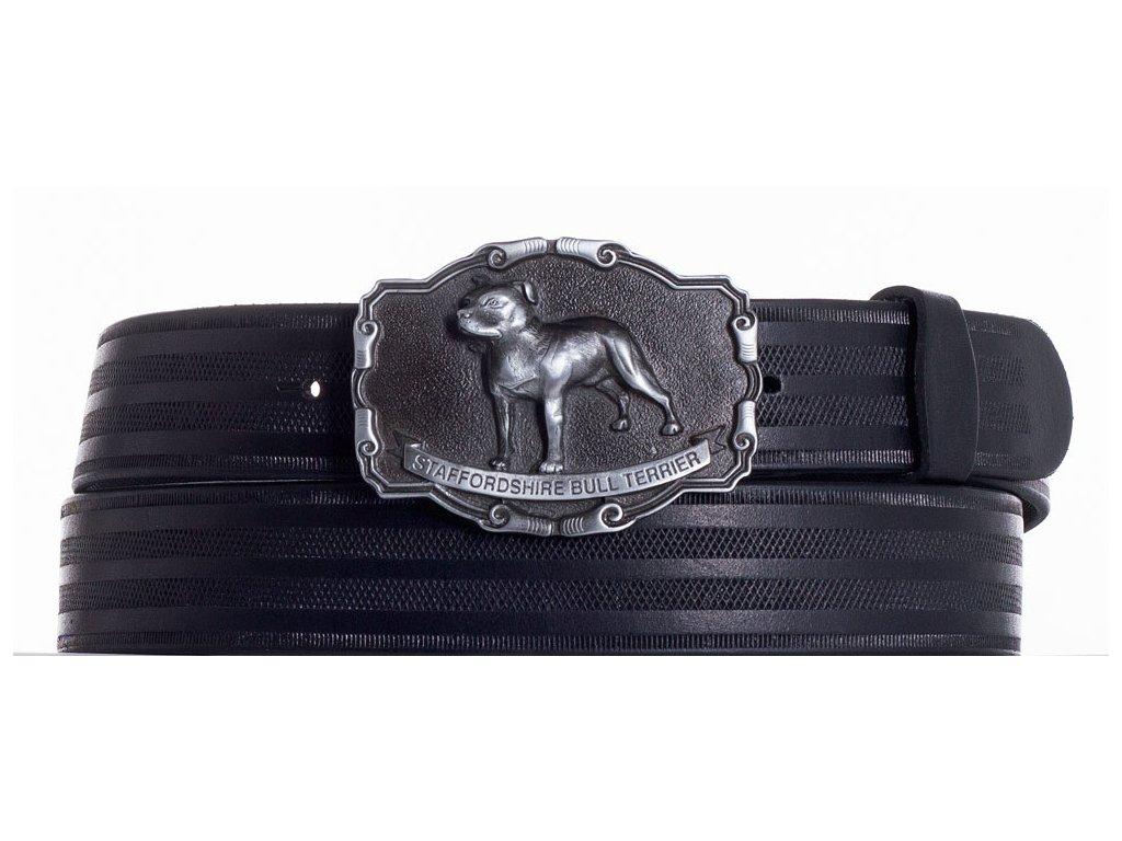 černý kožený pásek staf pr