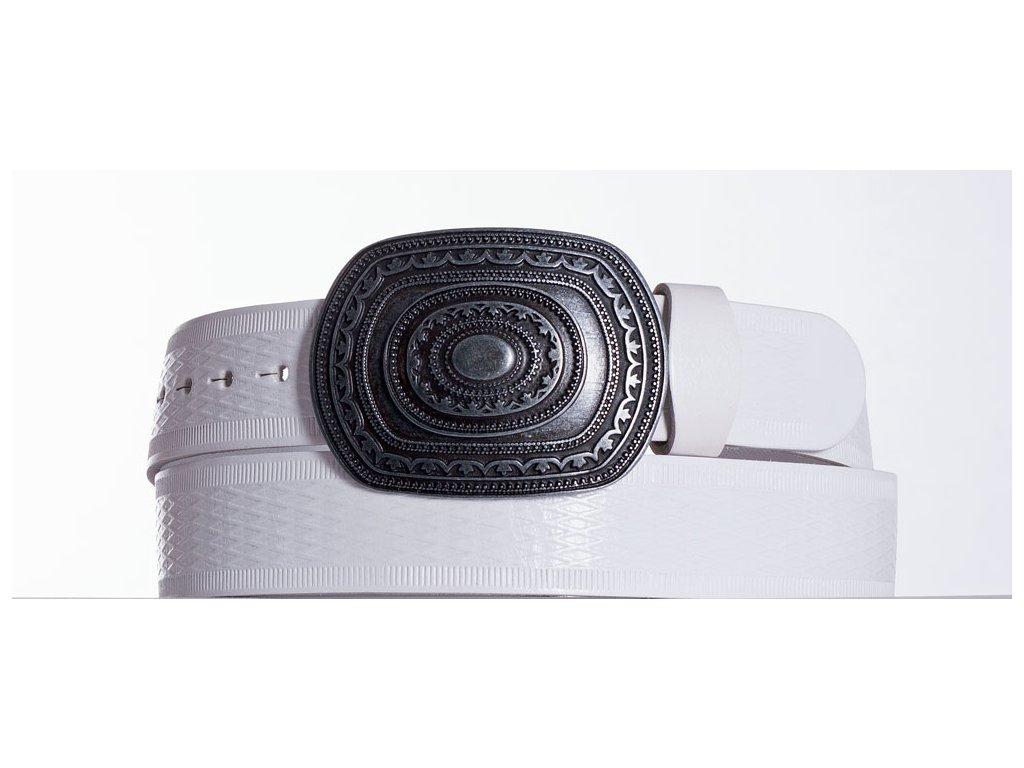 Bílý kožený opasek aztec vr
