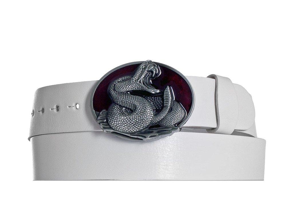 Bílý kožený opasek cobra