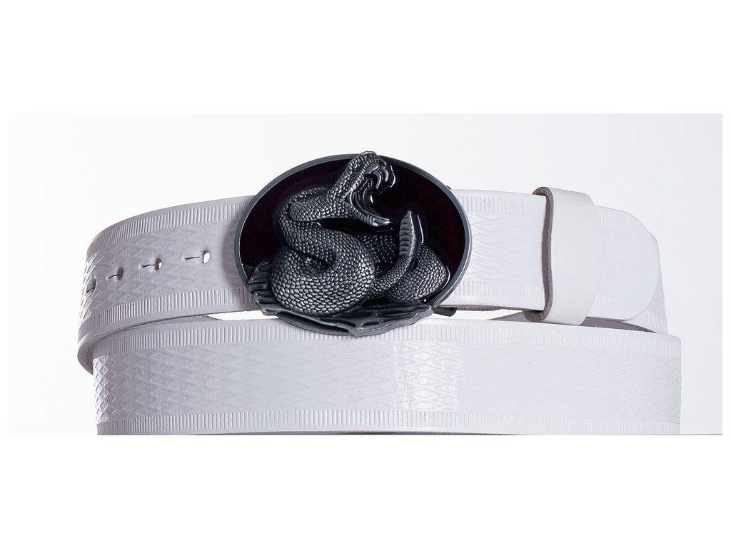 Bílý kožený opasek cobra vr