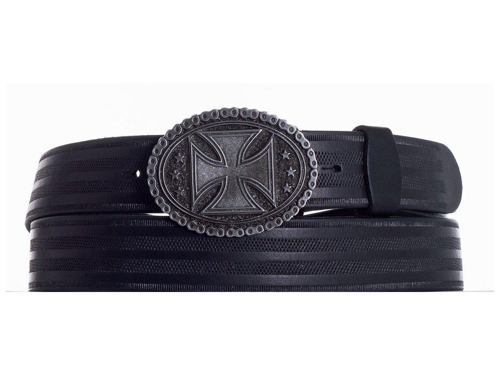Černý opasek kožený kříž pr