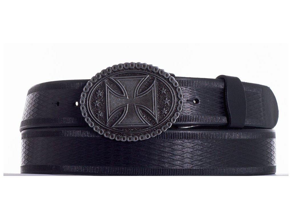 Černý opasek kožený kříž vr