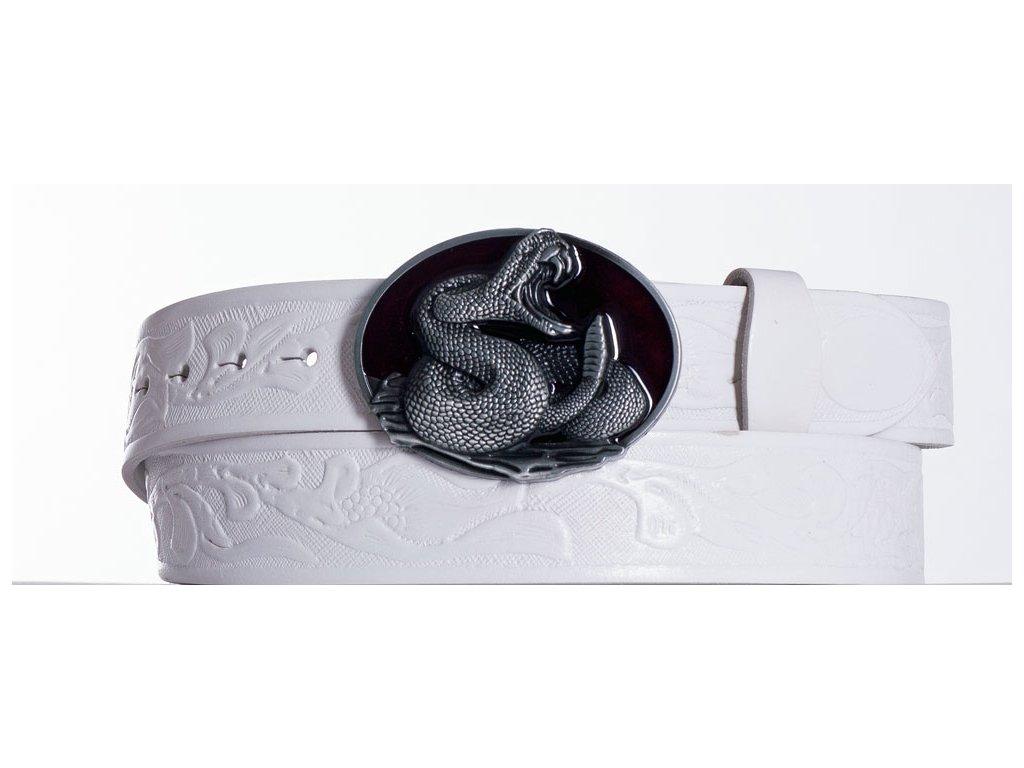Bílý kožený opasek cobra vzor