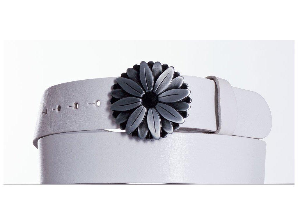 Bílý kožený pásek Kopretina