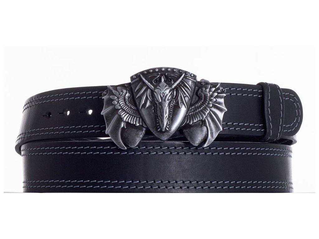 Černý kožený pásek drak ob2š