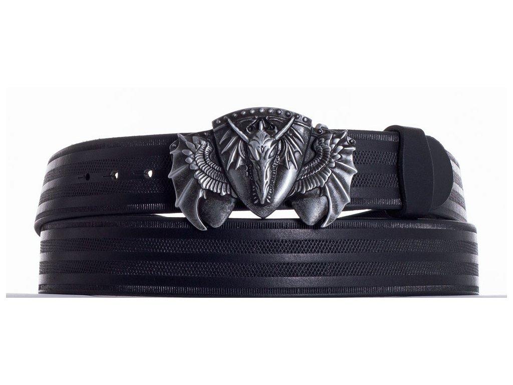 Černý kožený pásek drak pr