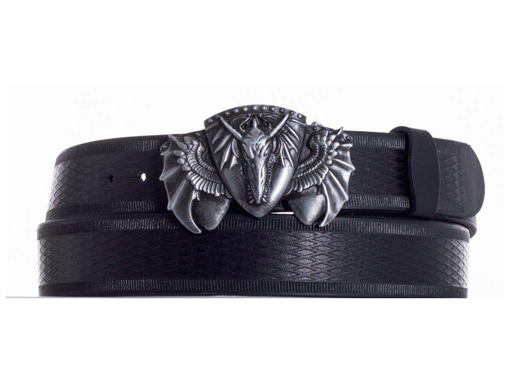Černý kožený pásek drak vr