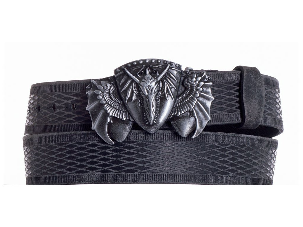 Černý kožený pásek drak vrb