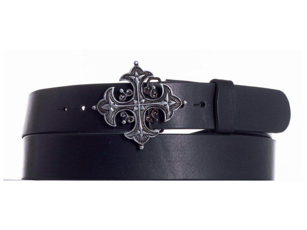 Černý kožený pásek kříž