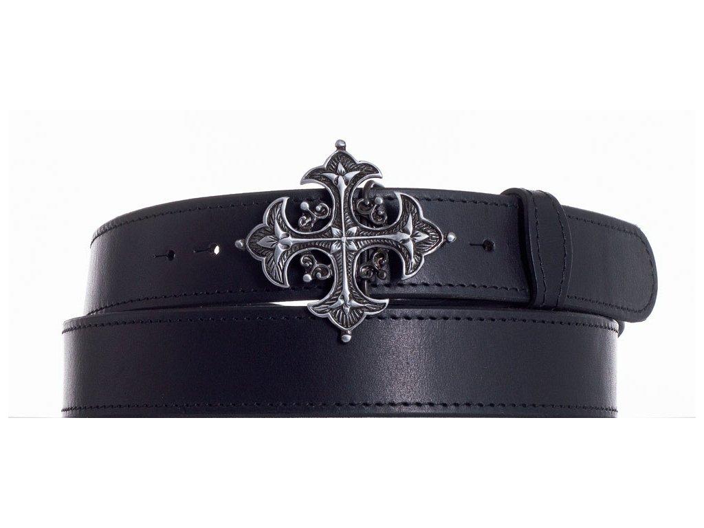 Černý kožený pásek kříž obč