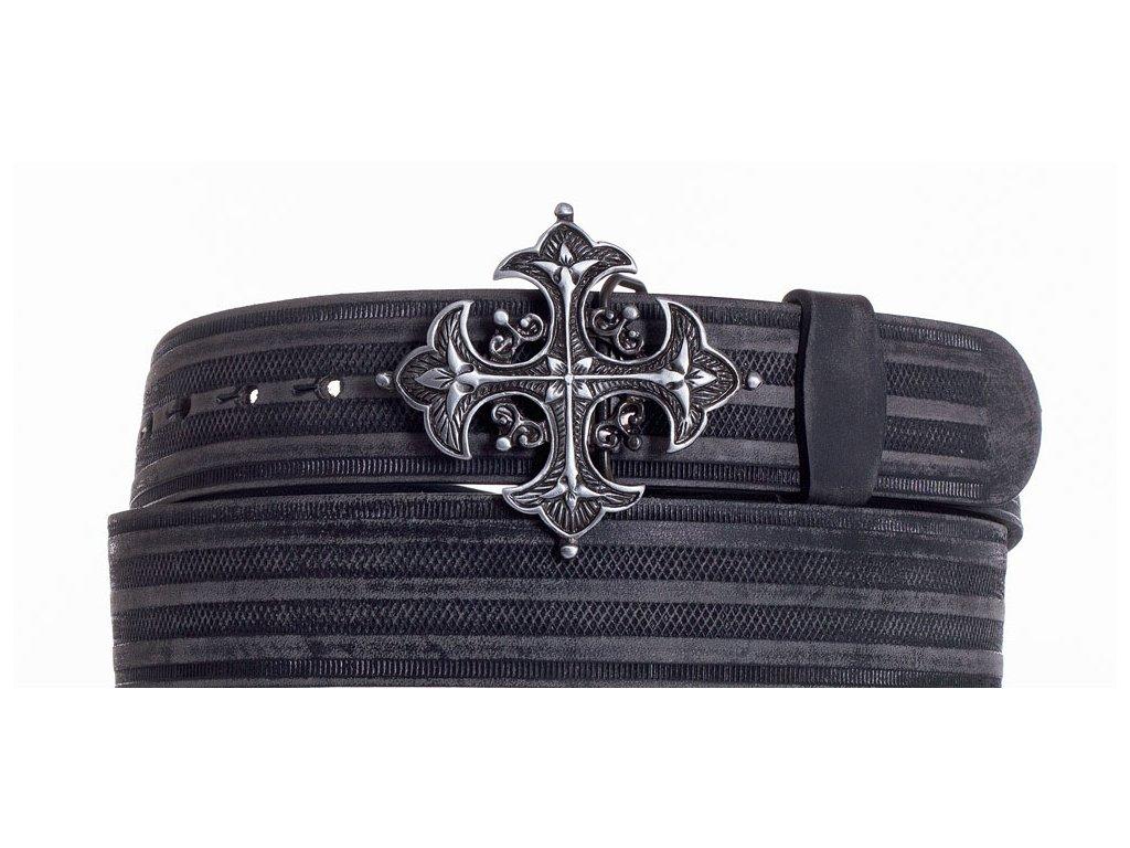 Černý kožený pásek kříž prb