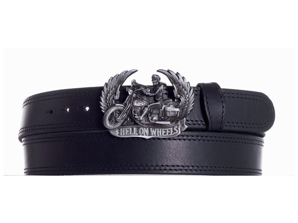 Černý kožený pásek motorkář ob2č