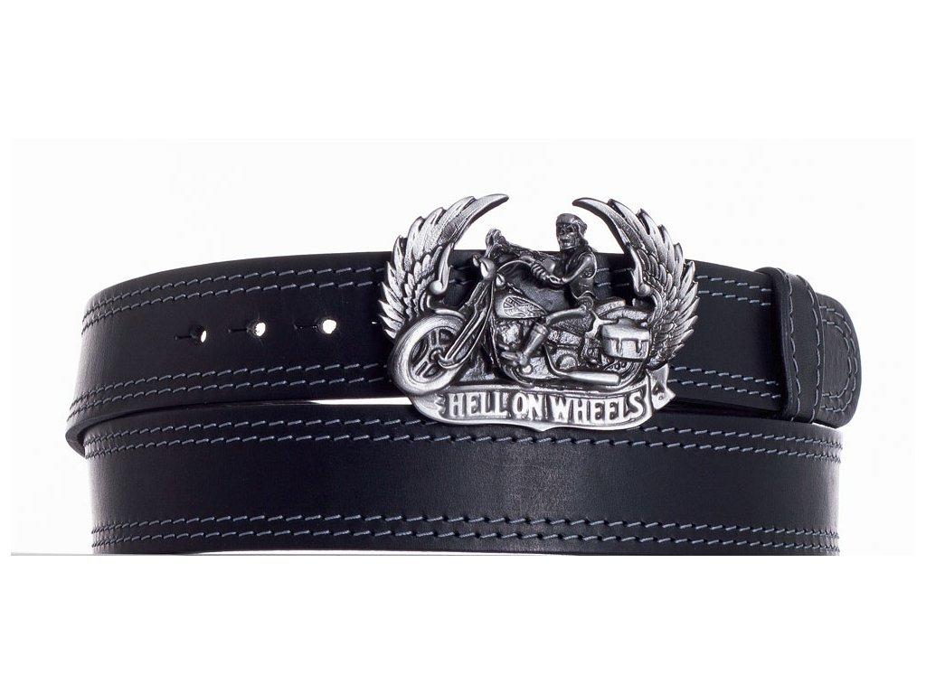 Černý kožený pásek motorkář ob2š