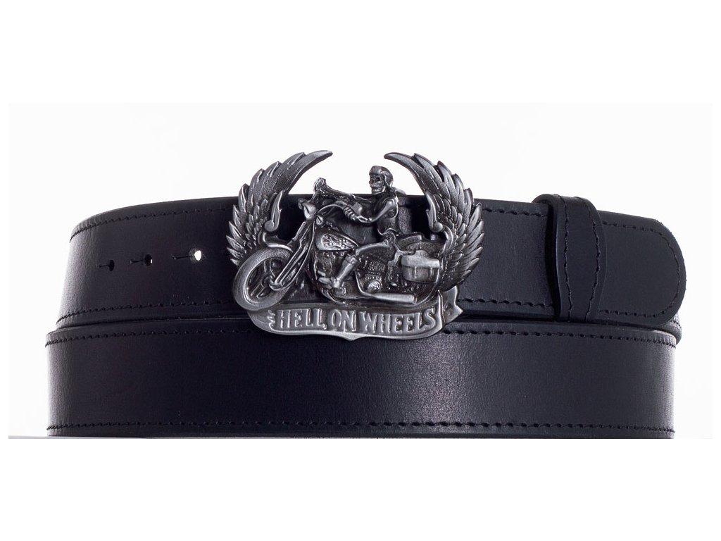 Černý kožený pásek motorkář obč