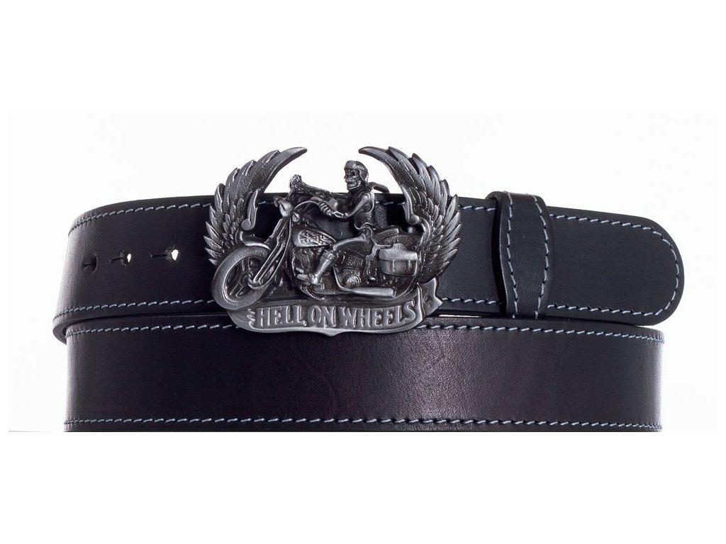 Černý kožený pásek motorkář obš